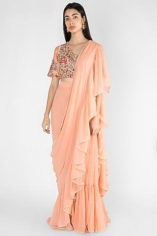 Peach Embroidered Pre-Stitched Saree Set by Ekru by Ekta and Ruchira