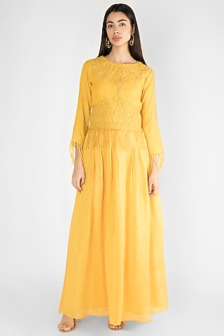Yellow Embroidered Top With Skirt by Ekru by Ekta and Ruchira