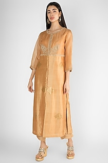 Beige Embroidered Kurta With Pants by Ekru by Ekta and Ruchira