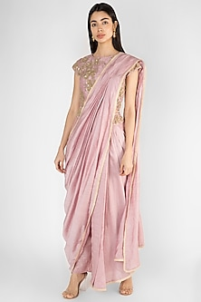 Mauve Embroidered Pre-Stitched Pant Saree Set by Ekru by Ekta and Ruchira