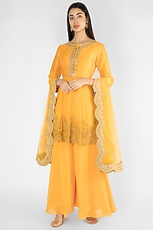 Yellow Embroidered Sharara Set by Ekru by Ekta and Ruchira