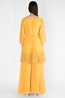 Yellow Embroidered Sharara Set by Ekru by Ekta and Ruchira