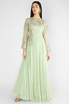 Pista Green Embroidered Gown by Ekru by Ekta and Ruchira