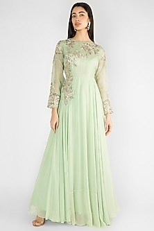 Pista Green Embroidered Gown by Ekru by Ekta and Ruchira