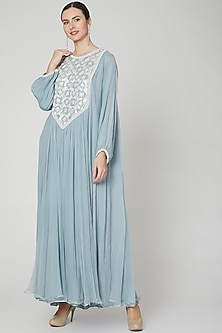 Sky Blue Embroidered Kaftan by Ekta Singh