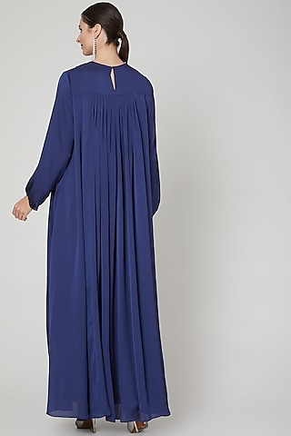 Cobalt Blue Embroidered Kaftan by Ekta Singh