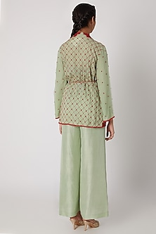 Pista Green Embroidered Wrap-Up Jacket With Pants by Ekta Singh
