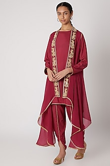 Magenta Embroidered Shirt With Dhoti Pants & Cape by Ekta Singh