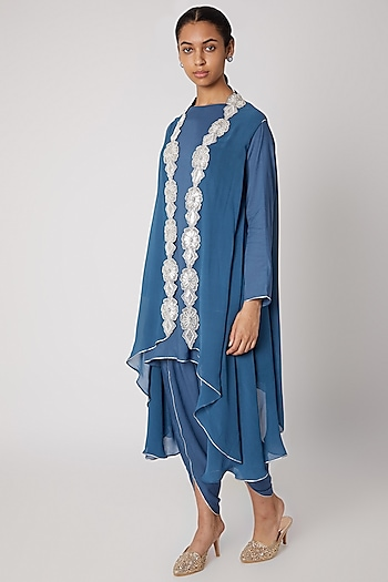 Blue Embroidered Modal Shirt With Dhoti Pants & Cape by Ekta Singh