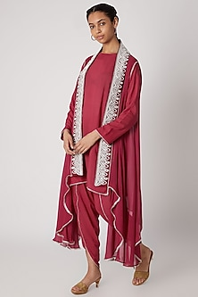 Magenta Embroidered Modal Shirt With Dhoti & Cape by Ekta Singh
