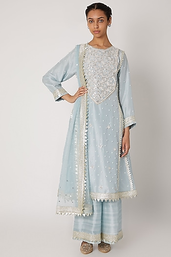 Powder Blue Embroidered Silk Kurta Set by Ekta Singh