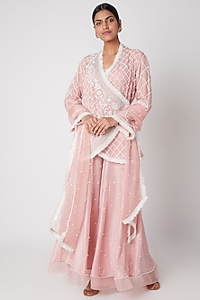 Pink Embroidered Wrap-Up Jacket & Sharara Set by Ekta Singh