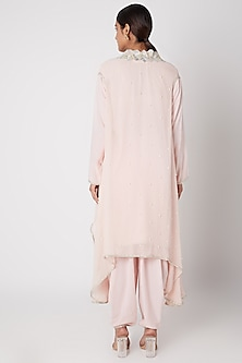 Pink Embroidered Shirt With Dhoti Pants & Cape by Ekta Singh