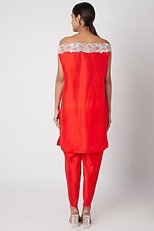 Red Embroidered Off Shoulder Kurta Set by Ekta Singh