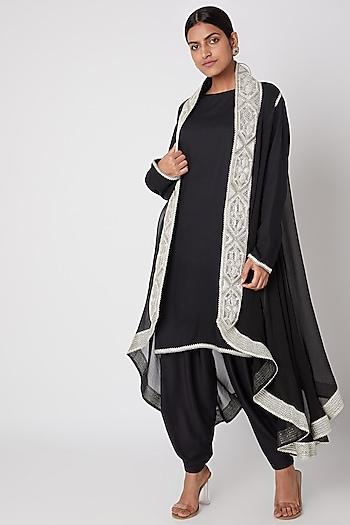 Black Embroidered Rayon Shirt With Dhoti Pants & Cape by Ekta Singh