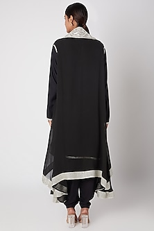 Black Embroidered Rayon Shirt With Dhoti Pants & Cape by Ekta Singh