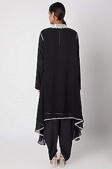 Black Embroidered Shirt With Dhoti Pants & Cape by Ekta Singh