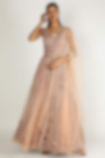 Peach Embroidered Lehenga Set by Sonal