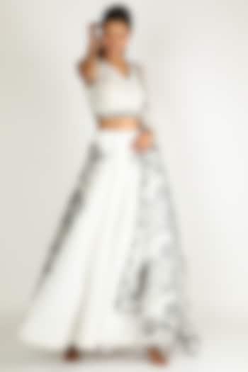 White Embroidered Lehenga Set by Sonal