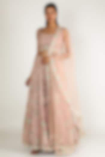 Peach Pearl Embroidered Lehenga Set by Sonal