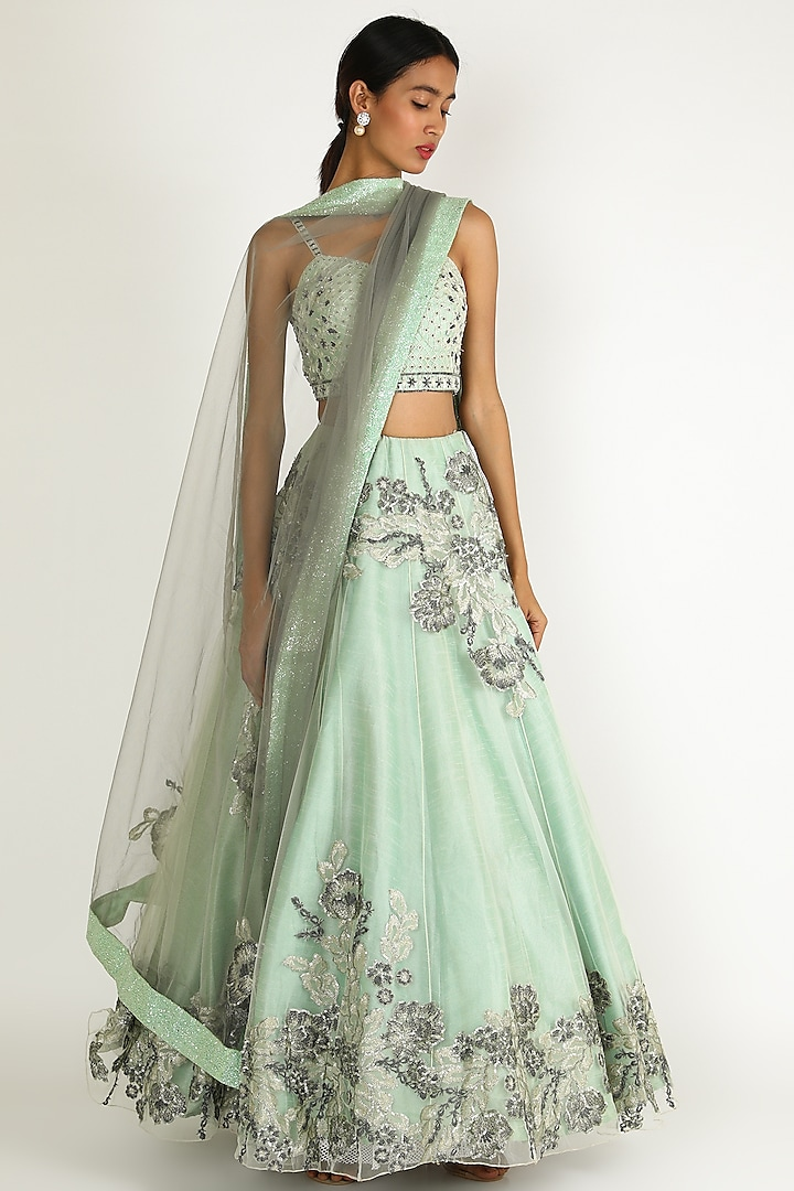 Mint Green Embroidered Lehenga Set by Sonal
