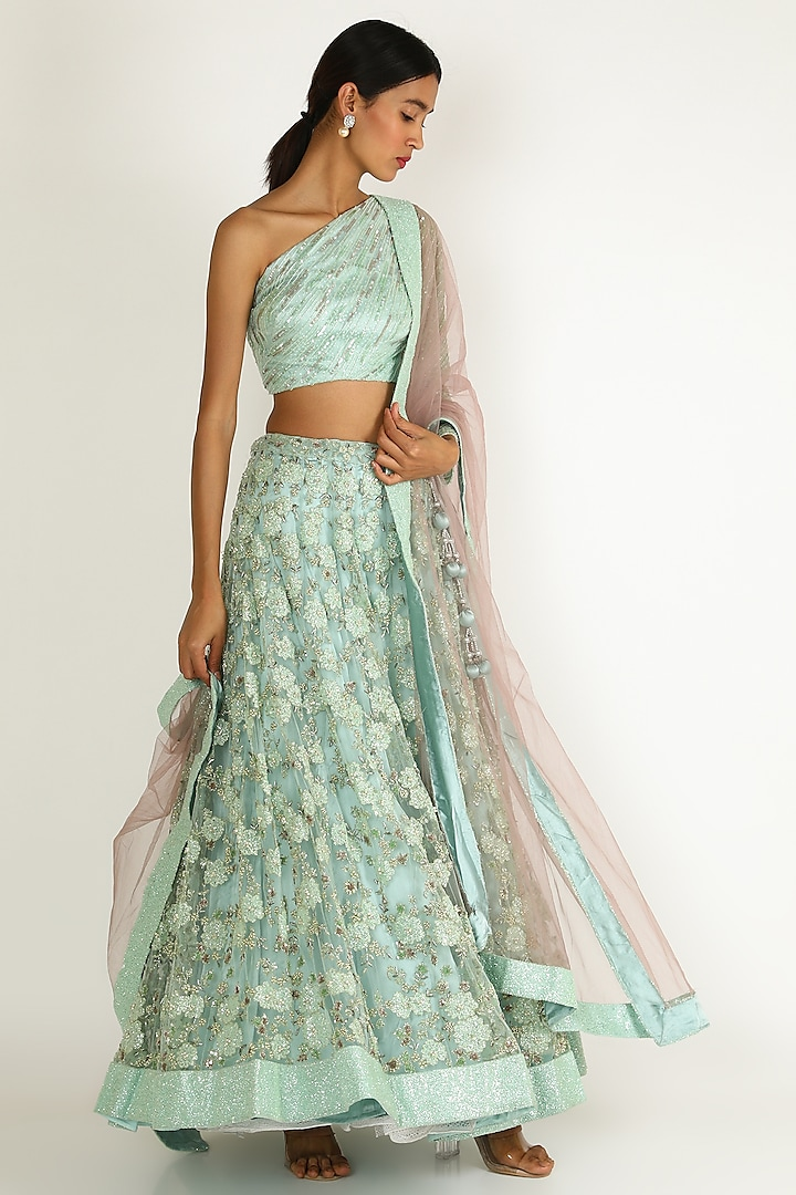Mint Embroidered Lehenga Set by Sonal