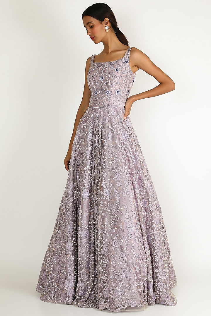Lilac Pearl Embroidered Gown by Sonal