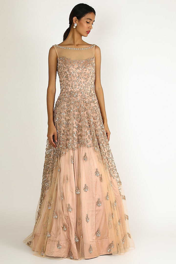 Peach Pearl Embroidered Gown by Sonal