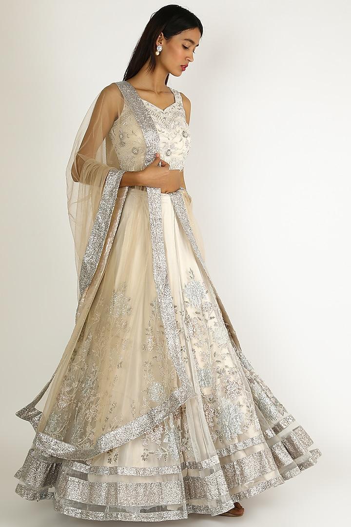 Ivory Embroidered Lehenga Set by Sonal