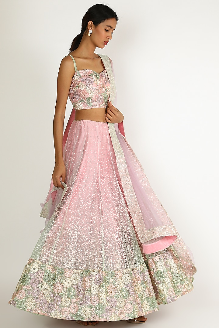 Blush Pink Ombre Embroidered Lehenga Set by Sonal