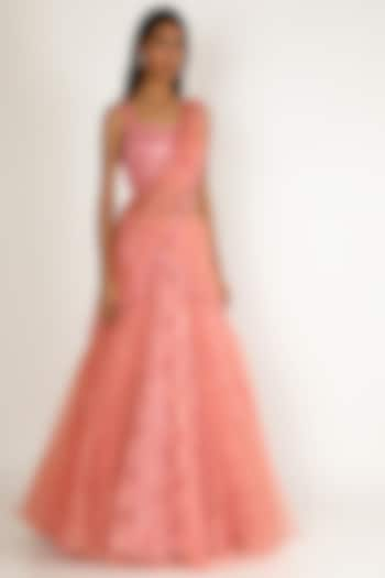 Pink Hand Embroidered Gown by Sonal