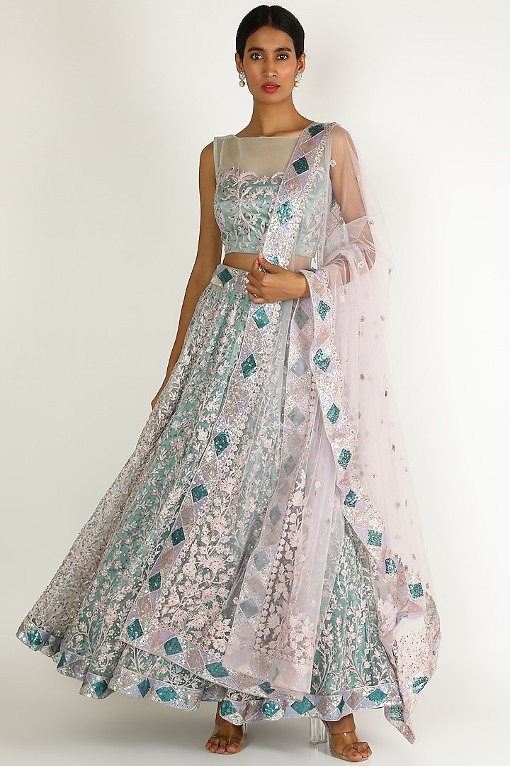 Cobalt Blue & Pink Embroidered Lehenga Set by Sonal