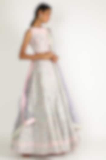 Blush Pink & Grey Embroidered Lehenga Set by Sonal