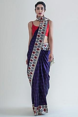 Raisin Purple Woven Saree Set by Ekaya