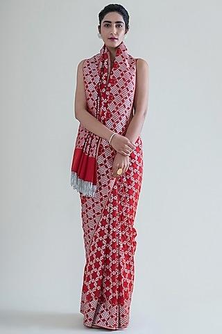Scarlet Red Saree Set With Cutwork by Ekaya