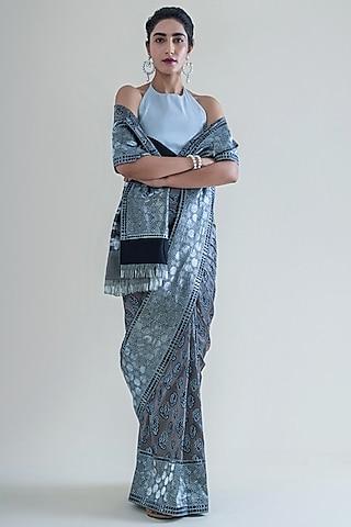 Smoke Grey Handwoven Saree Set by Ekaya