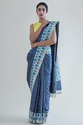 Pewter Grey Handwoven Saree Set by Ekaya