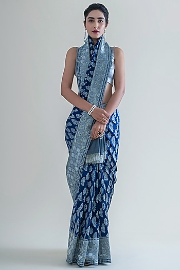 Persian Blue Handwoven Saree Set With Cutwork by Ekaya