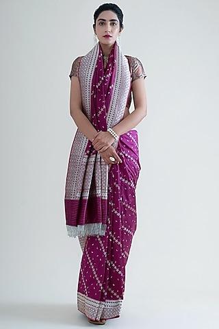 Wine Handwoven Saree Set by Ekaya
