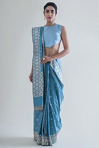 Slate Grey Saree Set With Banarasi Weaving by Ekaya