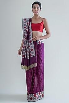 Plum Handwoven Saree Set by Ekaya