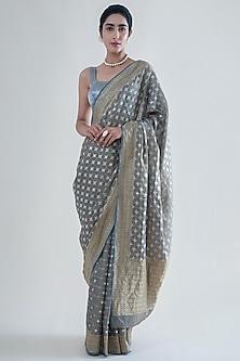 Ash Grey Handwoven Banarasi Saree Set by Ekaya