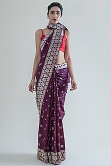 Mulberry Purple Handwoven Saree Set by Ekaya