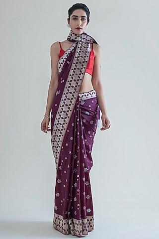 Mulberry Purple Handwoven Saree Set by Ekaya