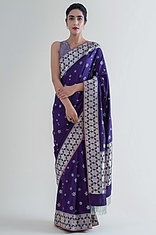 Indigo Blue Banarasi Saree Set by Ekaya
