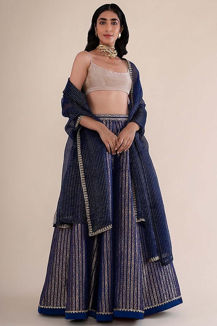 Midnight Blue Hand Embroidered Lehenga Set by Ekaya