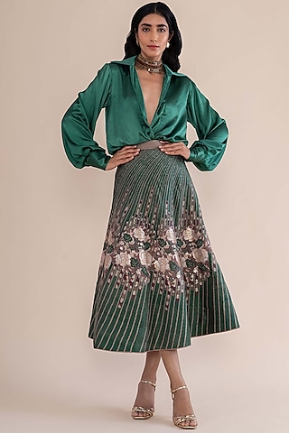 Green Handwoven Banarasi Silk Lehenga by Ekaya