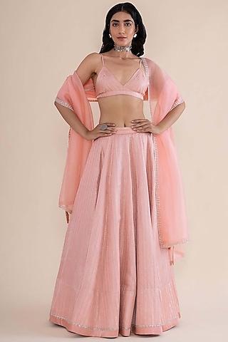 Soft Pink Hand Embroidered Lehenga Set by Ekaya