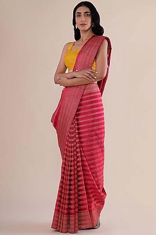 Crimson Red Satin Silk Handwoven Saree by Ekaya