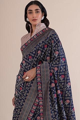 Deep Blue Saree With Meenakari Work by Ekaya